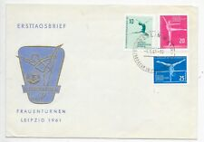 GERMANY DDR F.D.C. 3/6/1961 SG E565-67 3rd EUROPEAN WOMENS GYMNASTICS, LEIPZIG.