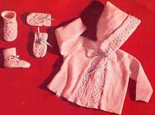 Vintage Knitting PATTERN to make Baby Set Hooded Sweater Smocked Booties PinkKn