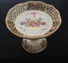 Antique Hand Painted Reticulated Dresden Saxony Compote by Ambrosius Lamm 1905