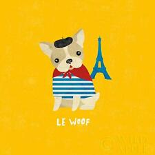 "FRENCH BULLDOG DOG COMIC FINE ART PRINT FRENCHI BOULEDOGUE FRANCAIS ""Le Woof"""