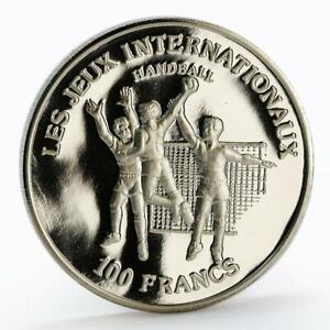 Congo 100 francs International Games series Handball proof nickel coin 1984