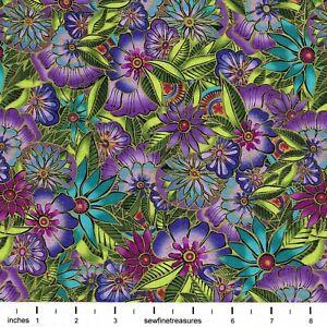 Sea Goddess Laurel Burch MULTI FLOWERS ALLOVER Purple Aqua Fabric By FQ 1/4 YD