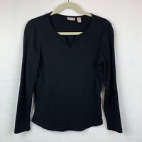 Chicos Top Small Size 0 Black Long Sleeve V Neck Pullover T Shirt Womens A134