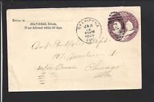 BELVIDERE, ILLINOIS 1894 COVER DUPLEX 1 CANCEL, BOONE CO. 1837/OP.