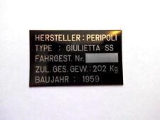 TARGHETTA PERIPOLI GIULIETTA SS 1959 Targhetta ID-plate