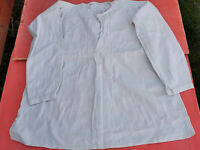 OLD ANTIQUE PRIMITIVE MEN'S SHIRT WHITE HOMESPUN HANDMADE HAND SEWING EARLY 20th