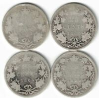 4 X CANADA 25 CENT QUARTERS VICTORIA STERLING SILVER COIN 1881H 1883H 1888 1889