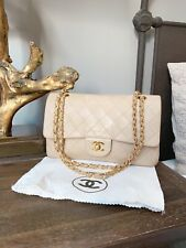 CHANEL Classic 2.55 Double Flap Medium Shoulder Bag Beige Leather 6500$