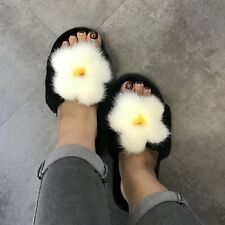 Real Shearling Sheep Fur Mink Fur Flat Thick Home Indoor Warm Winter Slippers