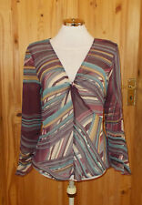 M&S purple aqua green brown beige chiffon long sleeve tunic top kaftan 14 42
