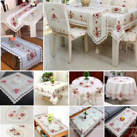 Embroidered Flower Doilies Tablecloth Table Runner Doily Desktop Mat Home Cover