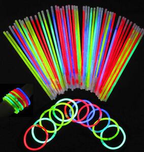 """100 8"""" GLOW STICKS BRACELET Necklaces Party Flavours Neon Colour + Connector"""