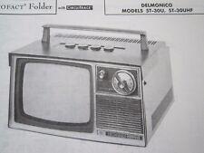 DELMONICO 5T-30U & 5T-30UHF MINI TV TELEVISION PHOTOFACT