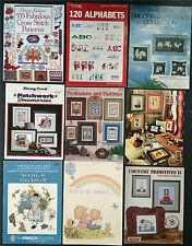 Grab Bag Lot 9 Cross Stitch Pattern Books Alphabet Donna Kooler Unicorn Rockwell