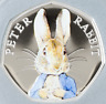 UNCIRCULATED PETER RABBIT 50p PENCE BEATRIX POTTER COIN 2016 COLOURED DECAL
