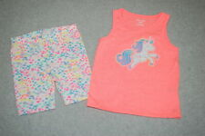 a00e276ce3d6 Toddler Girls UNICORN TANK TOP Bright Orange STRETCHY BIKE SHORTS Hearts 3T