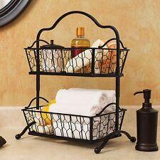 Two-Tier Chicken Wire Basket Stand Bathroom Kitchen Dorm Organizer