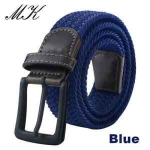 Braided canvas Woven Elastic Fabric Stretch Belt for Men Women Casual Pants Jean