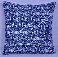 Azul Floral Indio Acolchado Cojín de Algodón Funda de Almohada Hogar Decoración