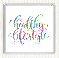 Healthy Lifestyle Rainbow Quote Drinks Mat Coaster