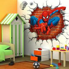 3D Spiderman Kids Wall Art Stickers Vinyl Murals Decal Boys Home Decor Removable