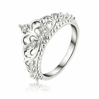 Women Lady Princess Queen Crown Silver Plated Ring Wedding Crystal Sterling Ring