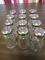 SALT & PEPPER GLASS SHAKERS 2 oz PANEL W/ S/S MUSHROOM TOP SET OF 2, 6, OR 12