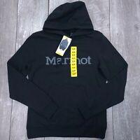 Marmot Hooded Sweatshirt Mens Small Black Pullover Hoody Jumper SW33