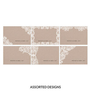 24pk Personalized Lace Medley Assorted Large Rectangular Tags Wedding Favors