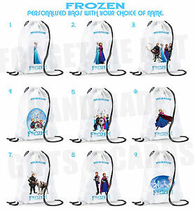Personalised Frozen Drawstring Bag PE Dance Gym Any Name School Nursery Swim