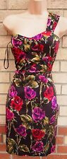 KOOKAI BROWN PINK RED GREEN ONE SHOULDER FLORAL TUBE BODYCON PENCIL DRESS 8 S