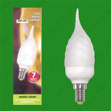12x 7W Basse Energie CFL embout courbé givré Tordue Ampoule Type Bougie,SES,E14