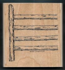 WOOD POST FENCE Country Ranch Pasture Stampin' Up! Happy Trails RUBBER STAMP