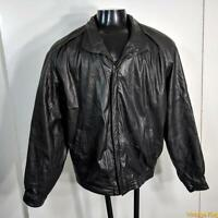 COMPTON & ASHLEY Soft LEATHER JACKET Mens Size XL Black zippered insulated