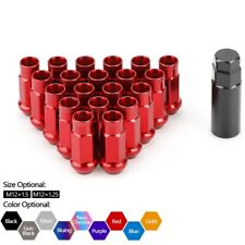 20pcs Red Wheel Lug Nuts Kit M12x1.5 Spline Cone Seat Open End for Chevy Acura