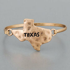 Simple Hammered Copper Color State Of Texas Bangle Bracelet