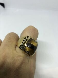 Vintage Golden Stainless Steel Genuine Tiger's Eye Size 8 Men's Ring