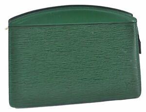 Authentic Louis Vuitton Epi Trousse Crete Clutch Bag Green M48407 LV E2616