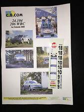 DECALS 1/24 PEUGEOT 206 WRC GRONHOLM RALLYE FINLANDE 1000 LACS 2000 RALLY