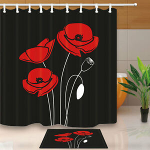 Red Poppy flower Shower Curtain Home Bathroom Decor Fabric & 12hooks 71*71inches