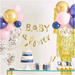 PINK AND BLUE BABY SHOWER BABY SHOWER TABLEWARE AND DECORATIONS