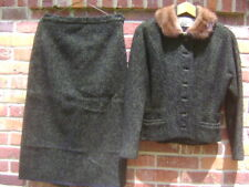 Vtg 1950 Womens Townley Suit Real Fur Collar Unique Jacket Textured Skirt Med