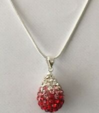 SHAMBALLA GRADIENT  RED + WHITE 15mm TEARDROP PENDANT NECKLACE +SNAKE CHAIN-S/P