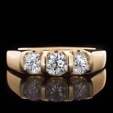 1.00 Ct Round 3-Stone Diamond Wedding Band Anniversary Ring 14k Yellow Gold GP