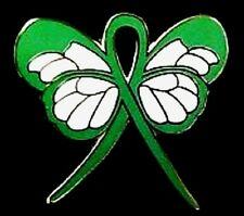 Green Ribbon Butterfly Lapel Pin Cerebral Palsy Kdeney Cancer Awareness New