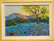 "Bluebonnets. Original  miniature oil on paper 5""x7"" impressionistic painting"