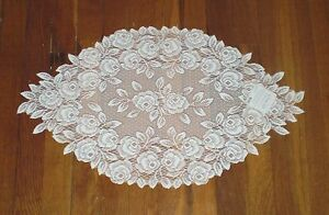 """Heritage Lace 14"""" x 24"""" Tea Rose Table Runner White or Ecru  100% Polyester"""