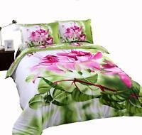 Beddinginn Elegant Pink Flower 4Pcs 100% Cotton Duvet Cover Set(Cal King)