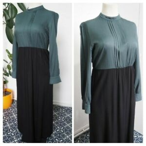 Vintage 1990s 90s Dark Teal Green And Black Maxi Dress Size 14