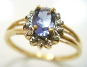 BESTJEWELLERY 10KT YELLOW GOLD OVAL NATURAL IOLITE & DIAMOND RING SIZE 7 R972